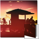 Silhouette of Life Guard Station at Sunset - Miami