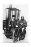 Policeman on a Motorcycle for the Prisoner Transport  1924