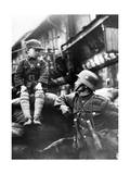 Chinese Soldier with a Boy in Shanghai  1937