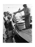 Iceman Selling Ice-Cream from Aboard a Boat on the Lange See Near Berlin  1930S