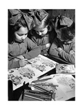 Girls with Coloring Book in Condove/Susa in Italy  1943