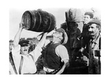Man Drinking Wine During Grape Harvest in France  1940