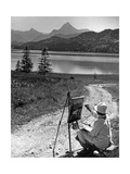 A Woman Is Painting at the Weißensee Near Füssen  1934