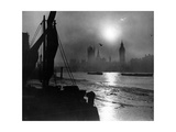 Sonnenuntergang an der Themse in London  1930er Jahre