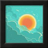 Vintage Sky Background With Sun And Dark Clouds On Old Paper Poster