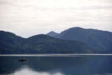 A Fisherman in a Boat in Walchensee  Upper Bavaria