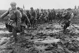 Soviet (Russian) Soldiers Marching Through a Muddy Field Near Odessa  Ca 1944