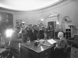 President Harry Truman before a Radio and Television Address on Disarmament Nov 7  1951