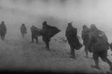 Soviet Soldiers Marching in Blowing Snow in 1944  'Spring'