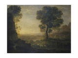 Landscape with Flock of Sheep at the River  17th C