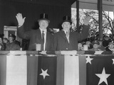 President Harry Truman and Vp Alben Barkley Wave to Cameras During the Inaugural Parade