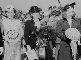 Bess (Center) and Margaret Truman (Right) During Christening Ceremony of Two Naval Airplanes