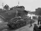 US Sherman Tanks Leave a Landing Ship in Anzio Harbor  May 1944