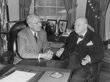President Harry Truman Confers with British Prime Minister Winston Churchill in the Oval Office