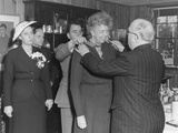 French President Auriol Presenting Eleanor Roosevelt with a Medal