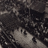 Overhead View of Provincial Troops Marching Along a City Street in China