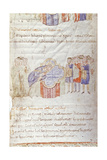 Manuscript Painting  10th C  Parent with Children for Baptism by Bishop During Easter Vigil