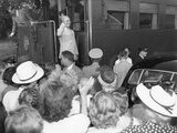President Harry Truman on the Presidential Train at a Campaign Stop in Willard  Missouri