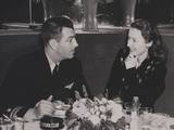 Navy Lieutenant Robert Taylor  with His Wife  Movie Star Barbara Stanwyck at the Stork Club
