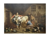 Lombard Farmhouse  with Shepherds and Animals in a Barn