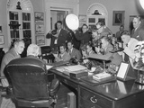 President Harry Truman (Back to Camera) in the Oval Office with Secretary of State Dean Acheson