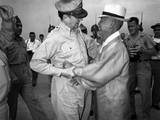 General Army Douglas Macarthur Is Welcomed by Dr Syngman Rhee at Kimpo Air Force Base