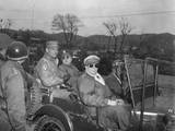 Commanders of UN Forces in Korea  in a Jeep at a Command Post  Yang Yang