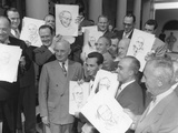 President Harry Truman Posing at the White House with Visiting Cartoonists  Oct 3  1949
