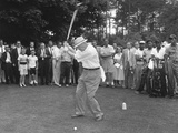 President Eisenhower Teeing Off on a Golf Course  Summer 1957