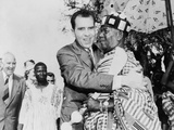 Vice President Nixon Embraces Chief Osae Dyan II  Head of the Osu Alata Tribe