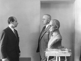President Harry Truman Poses Next to the Bust by Artist Felix De Weldon (Left)  Jan 7  1949