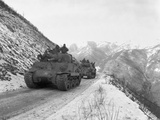 M-4A3 Sherman Tank Convoy Travels Along a Well Graded But Narrow Road Coming Up Funchilin Pass