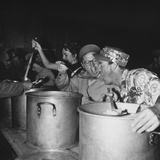Mickey Rooney and Members of His Uso Troupe Feed Troops Chow