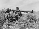 US Soldiers Operate a New 35 Bazooka on the Front Lines Somewhere in Korea  1950
