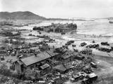 Four Lst's Unload Men and Equipment on 'Red Beach' at Inchon  Korea  Sept 15  1950