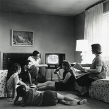 American Family Viewing Television in the Living Room of their Home  1959