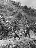 Wounded South Korean Soldier Carried to a First Aid Station by a US Infantryman