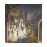 Kneeling Magi Adoring Baby Jesus and Virgin Mary  15th C