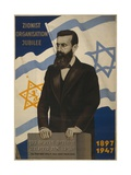 1947 Poster Showing Theodor Herzl with the Flags of Israel and the Zionist Congress