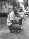 African American Miner with His Little Boy Grant Town  Marion County  West Virginia
