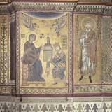 King William Ii Offering Monreale Cathedral to the Virgin  1180 Mosaic  Monreale  Sicily  Italy