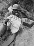 African American Radio Operator Reads News While Eating Rations Near Sangju  Korea
