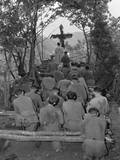 Chaplain Conducts Services North of Hwachon  Korea  for Men of 31st Regiment