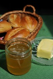 Bread  Butter and Honey on a Table