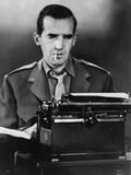 CBS News Correspondent Edward R Murrow at His Typewriter in Wartime London