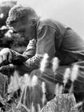 US Marine in Prayer for the Safety of Himself and His Comrades Minutes Later