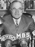 President Harry Truman Speaking into Microphones of Radio Networks  Ca 1945-48