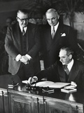 Dean Acheson  Sec of State  Signs the North Atlantic Treaty Establishing the Nato Alliance