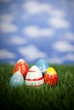 Painted Easter Eggs Sitting in the Grass