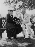 President Harry Truman and Edith Bolling Galt Wilson Seated on Outdoor Bench